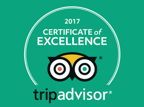 Tripadvisor 5* Certificate Of Excellence 2017