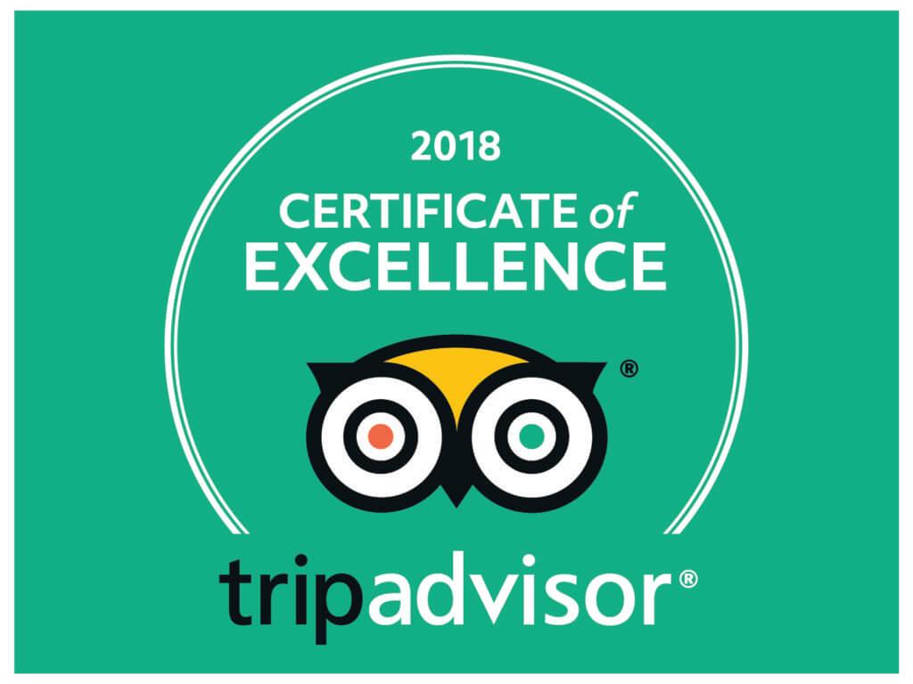 Tripadvisor 5* Certificate Of Excellence 2018